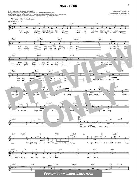 Magic To Do: Melody line by Stephen Schwartz