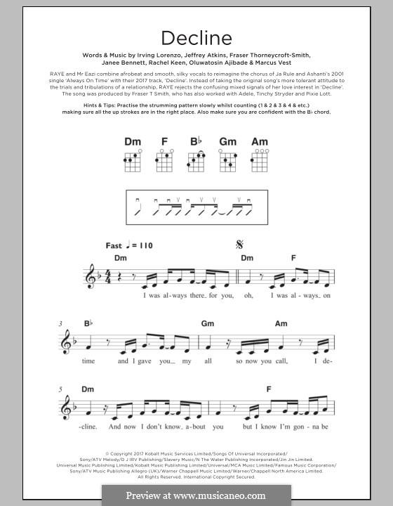Decline (RAYE & Mr Eazi): For ukulele by Fraser Thorneycroft-Smith, Irving Lorenzo, Jeffrey Atkins, Marcus Vest, Janee Bennett, Rachel Keen, Oluwatosin Ajibade