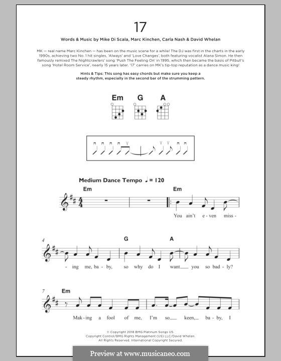 17 (MK): For ukulele by Mike Di Scala, Carla Nash, David Whelan, Marc Kinchen
