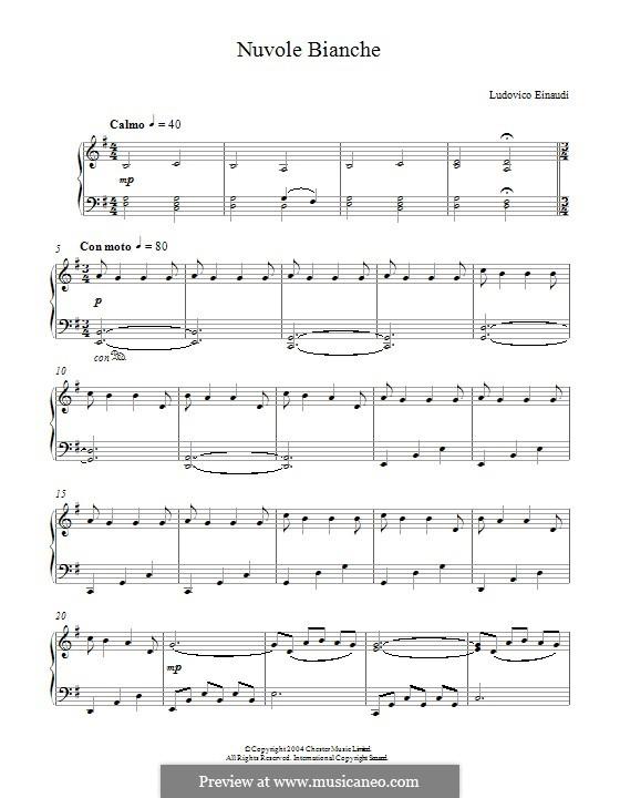 Nuvole Bianche: For piano by Ludovico Einaudi