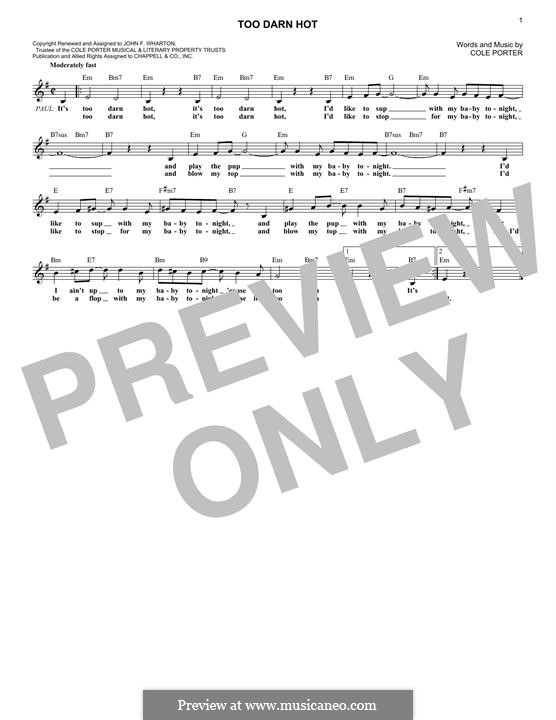 Too Darn Hot: Melody line by Cole Porter