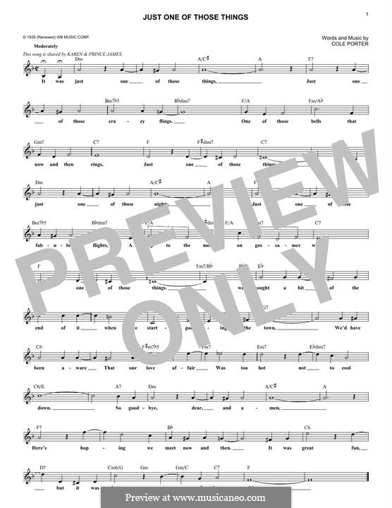 Just One of Those Things: Melody line by Cole Porter