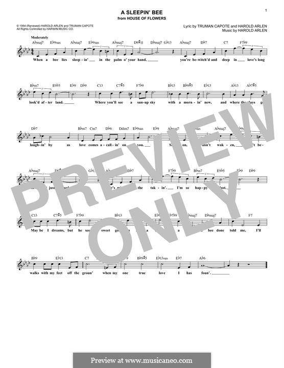 A Sleepin' Bee: Melody line by Harold Arlen