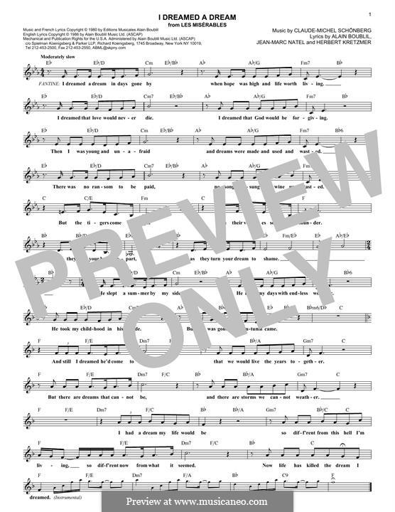 I Dreamed a Dream: Melody line by Claude-Michel Schönberg