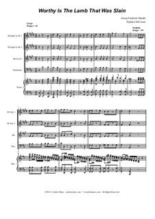 No.53 Worthy is the Lamb: For brass quartet by Georg Friedrich Händel