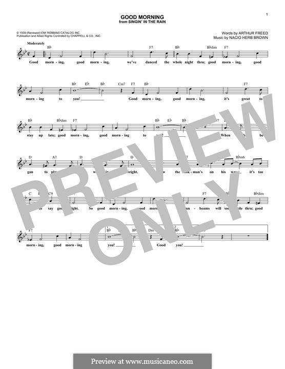 Good Morning (from Singin' in the Rain): Melody line by Nacio Herb Brown