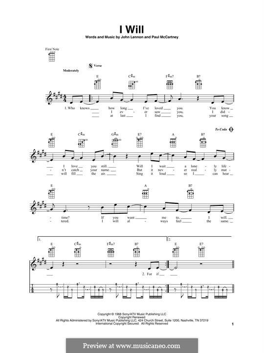 I Will (The Beatles): For ukulele by John Lennon, Paul McCartney
