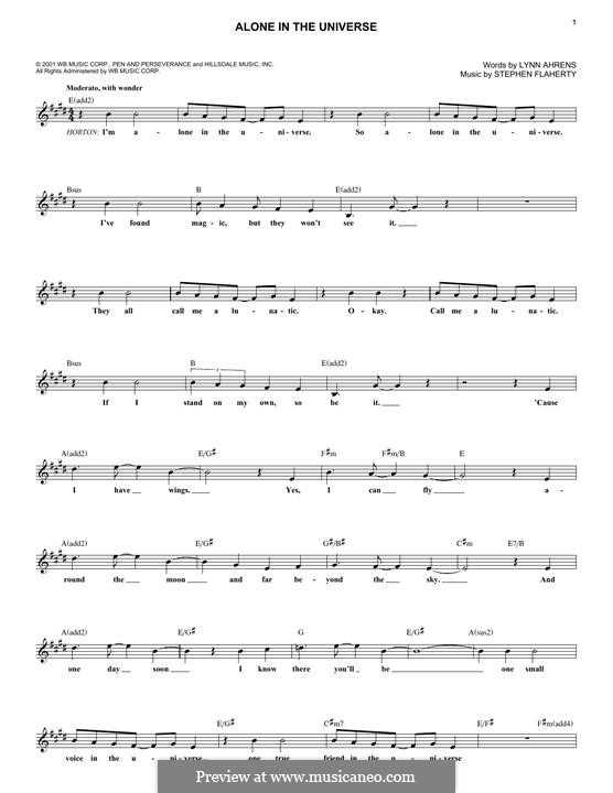 Alone in the Universe (from Seussical The Musical): Melody line by Lynn Ahrens, Stephen Flaherty