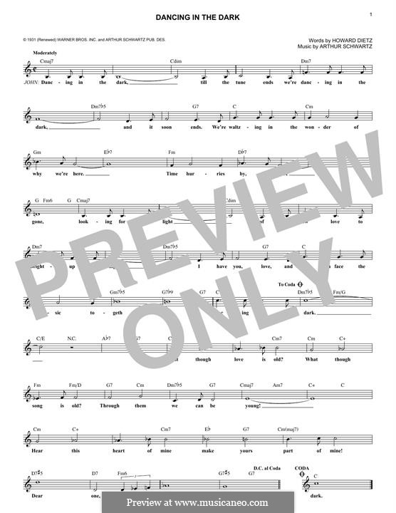 Dancing in the Dark (Frank Sinatra): Melody line by Arthur Schwartz