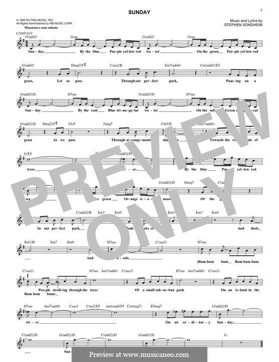 Sunday: Melody line by Stephen Sondheim