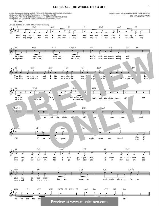Let's Call the Whole Thing Off: Melody line by George Gershwin