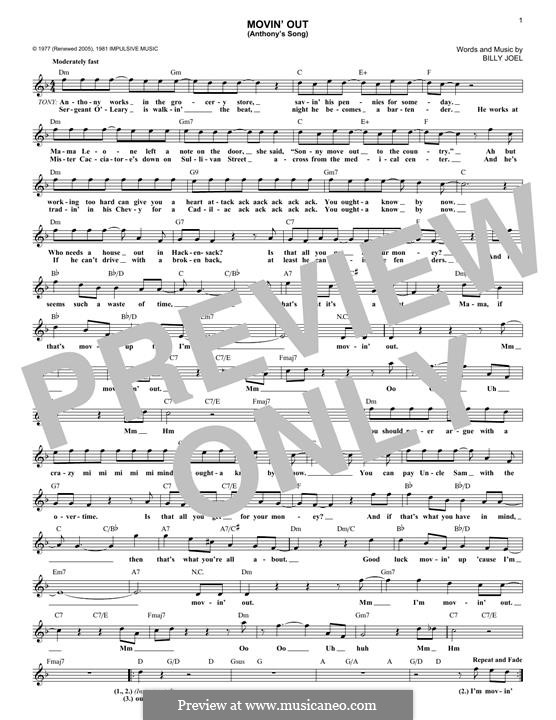 Movin\' Out (Anthony\'s Song) by B. Joel - sheet music on MusicaNeo