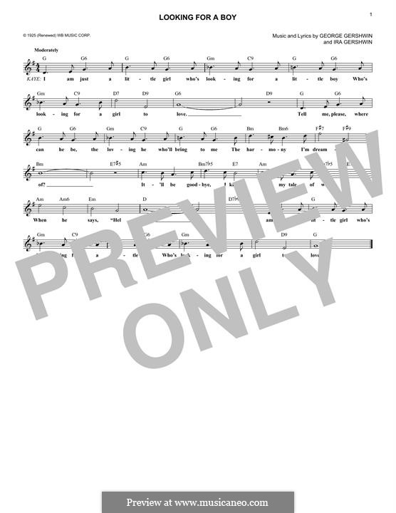 Looking for a Boy: Melody line by George Gershwin