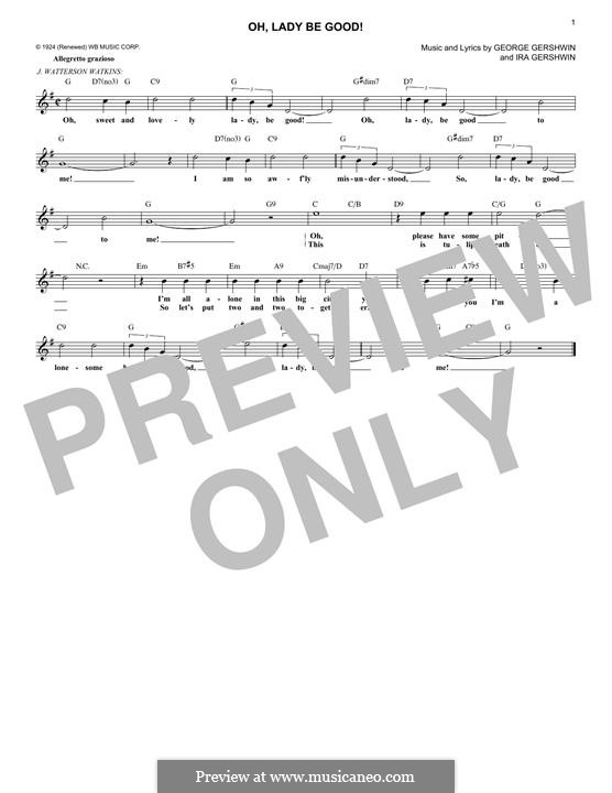 Oh, Lady, Be Good: Melody line by George Gershwin