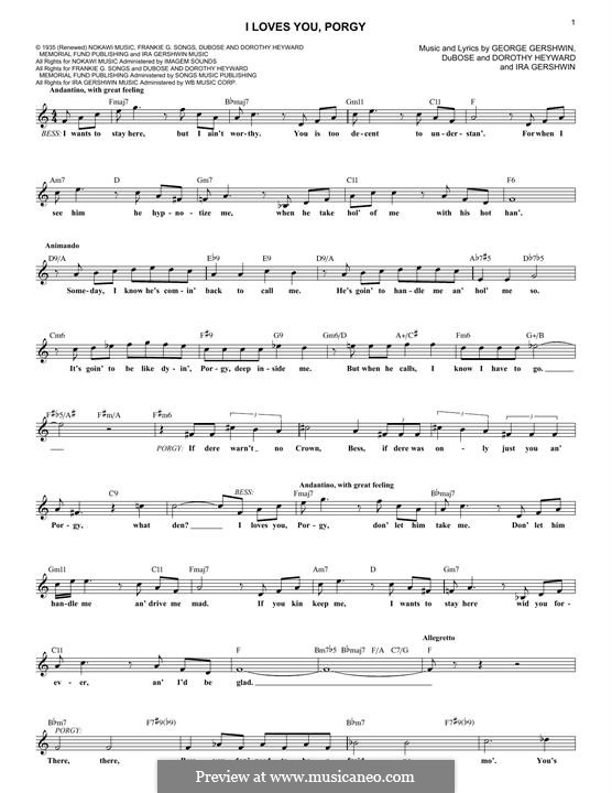 I Loves You, Porgy: Melody line by George Gershwin