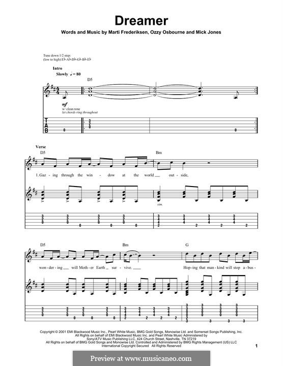 Dreamer: For guitar with tab by Ozzy Osbourne, Martin Frederiksen, Mick Jones