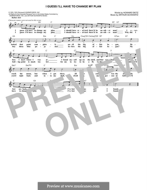 I Guess I'll Have to Change My Plan (Frank Sinatra): Melody line by Arthur Schwartz