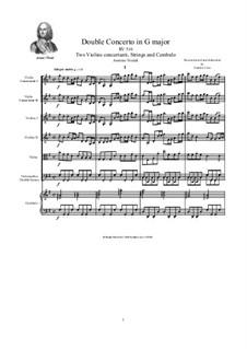 Concerto for Two Violins and Strings in G Major, RV 516: Score, parts by Antonio Vivaldi