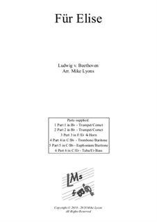 For Elise, WoO 59: For brass sextet by Ludwig van Beethoven