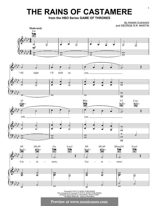 The Rains of Castamere (from Game of Thrones): For voice and piano (or guitar) by Ramin Djawadi