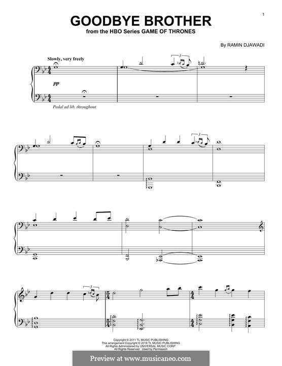Goodbye Brother: For piano by Ramin Djawadi