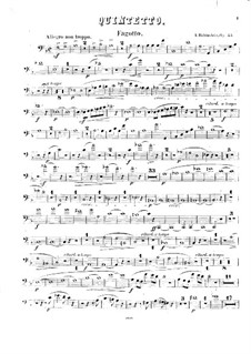 Quintet for Winds and Piano in F Major, Op.55: Bassoon part by Anton Rubinstein