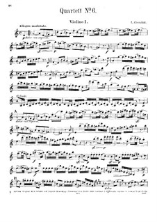 String Quartet No.6 in A Minor: Violin I part by Luigi Cherubini