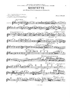 Quintet for Flute, Strings and Harp (or Piano): Flute part by Jean Cras