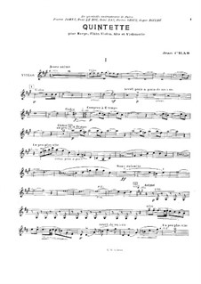 Quintet for Flute, Strings and Harp (or Piano): Violin part by Jean Cras