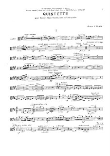 Quintet for Flute, Strings and Harp (or Piano): Viola part by Jean Cras