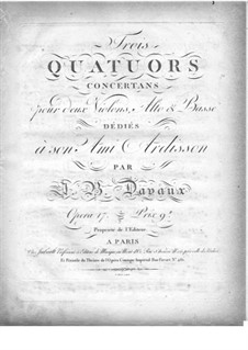 Three String Quartets, Op.17: Violin II part by Jean-Baptiste Davaux