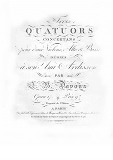 Three String Quartets, Op.17: Viola part by Jean-Baptiste Davaux