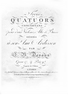 Three String Quartets, Op.17: Violin I part by Jean-Baptiste Davaux