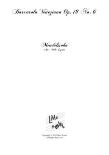 Songs without Words, Op.19b: No.6 Venezianisches Gondellied (Venetian Gondola Song), for brass quintet by Felix Mendelssohn-Bartholdy
