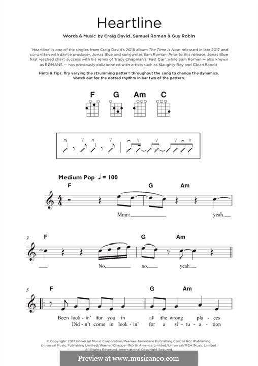 Heartline: For ukulele by Craig David, Guy Robin, Samuel Roman