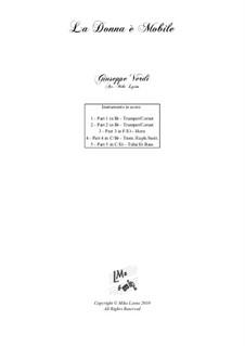 La donna è mobile (Over the Summer Sea): For brass quintet by Giuseppe Verdi