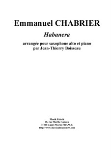 Habanera: For alto saxophone and piano by Emmanuel Chabrier