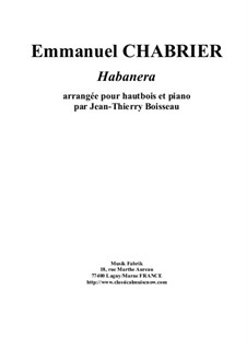 Habanera: For oboe and piano by Emmanuel Chabrier