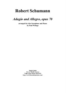 Adagio and Allegro, Op.70: For alto saxophone and piano by Robert Schumann