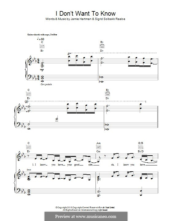 I don't Want to Know (Sigrid): For voice and piano (or guitar) by Jamie Hartman, Sigrid Raabe