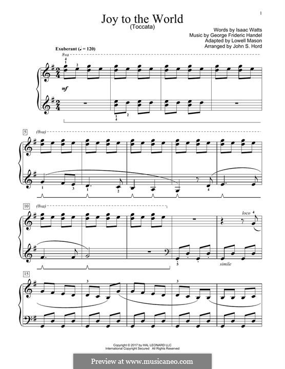 Joy to the World, for Piano: Easy version by Georg Friedrich Händel