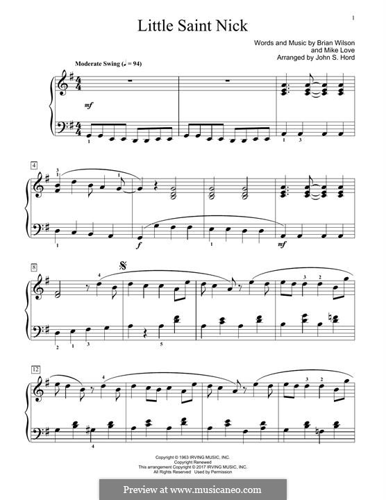 Little Saint Nick (The Beach Boys): For easy piano by Brian Wilson, Mike Love