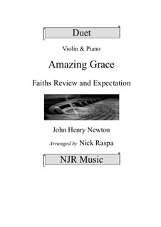 Amazing Grace: For violin and piano by folklore