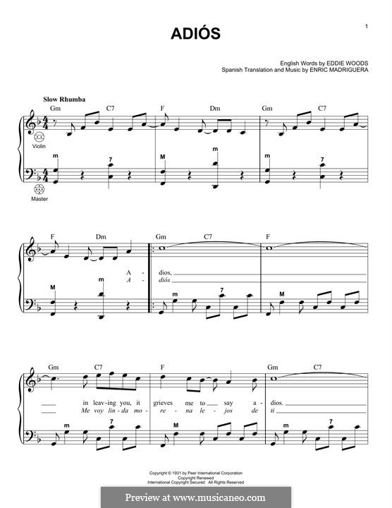Adios: For accordion by Enric Madriguera