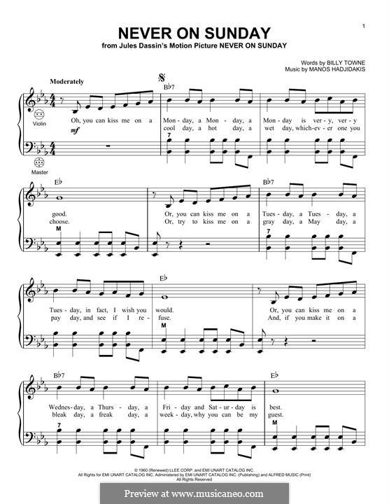 Never on Sunday: For accordion by Manos Hadjidakis