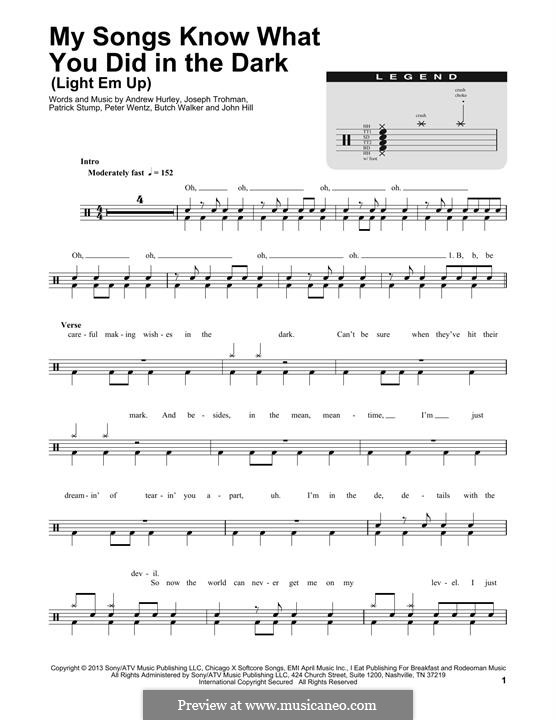 My Songs Know What You Did in ihe Dark (Fall Out Boy): Drum set by Andrew Hurley, Butch Walker, Joseph Trohman, Patrick Stump, Peter Wentz, John Hill