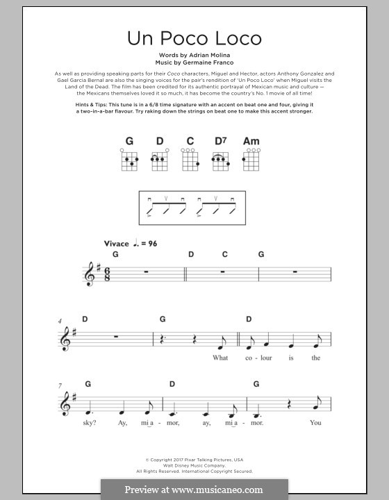 Un Poco Loco (from 'Coco'): For ukulele by Germaine Franco