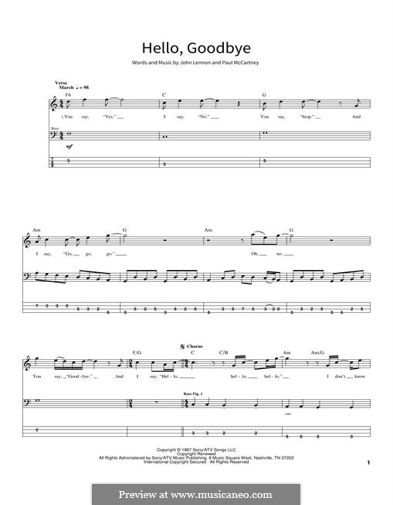 Hello, Goodbye (The Beatles): For bass guitar with tab by John Lennon, Paul McCartney