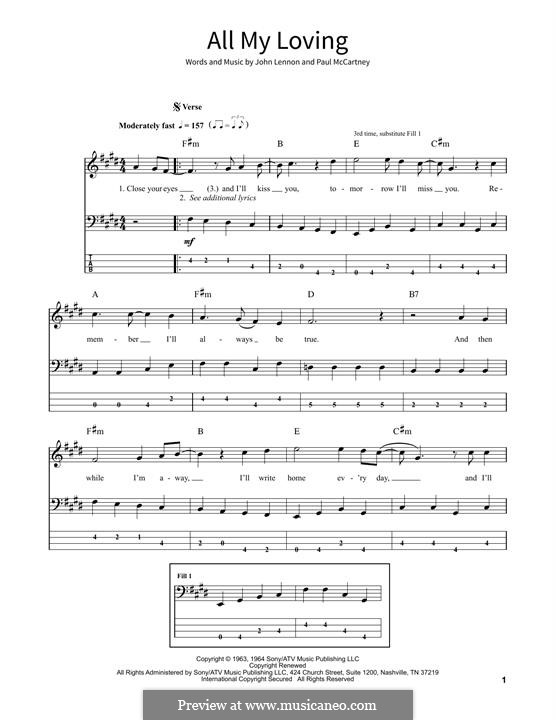 All My Loving (for guitar or piano): For bass guitar with tab by John Lennon, Paul McCartney