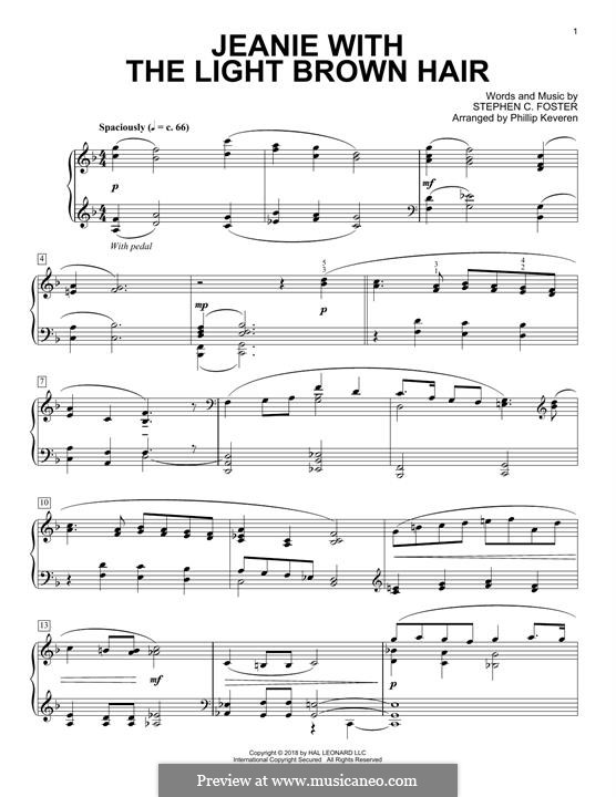 Jeanie with the Light Brown Hair: For piano by Stephen Collins Foster